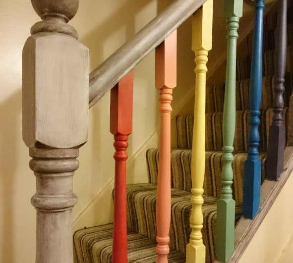 Rainbow staircase, house makeover plans