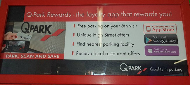 Q-Park loyality app The Meadows Shopping Centre