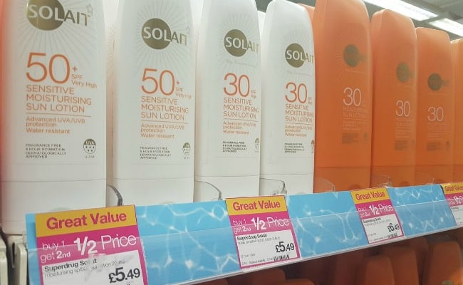 Sun cream on offer in Superdrug The Meadows Shopping Centre