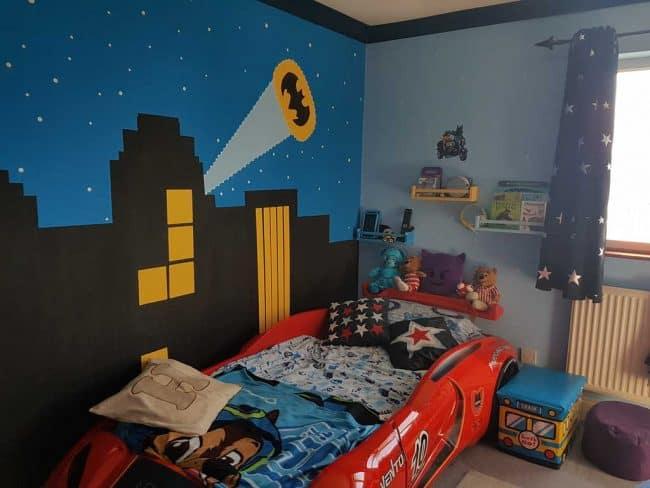 Batman skyline mural and racing car bed