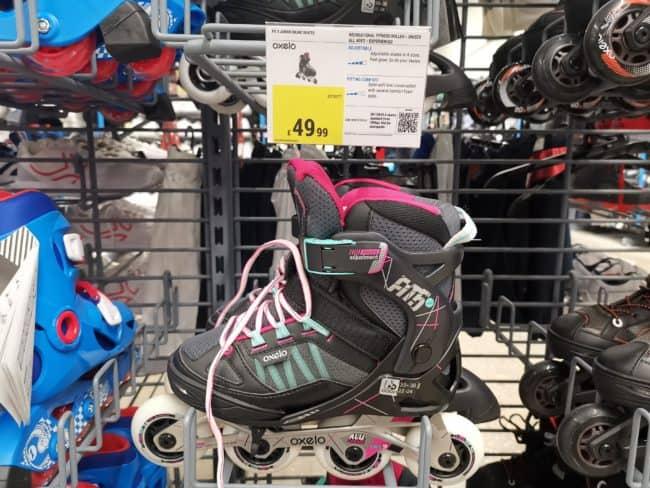 Inline rollerskates on display